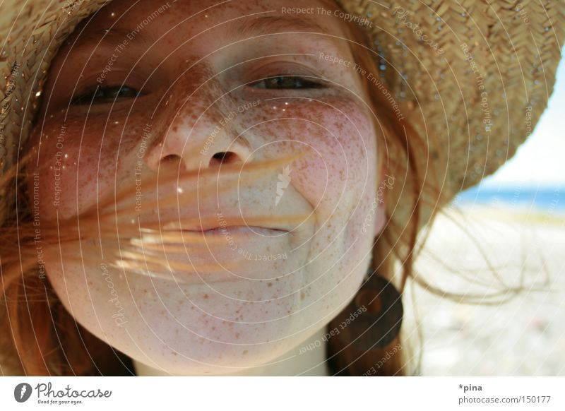 livia Woman Portrait photograph Freckles Beautiful Hat Straw hat Joy Laughter Happy Happiness Wind Face Emotions Lighting