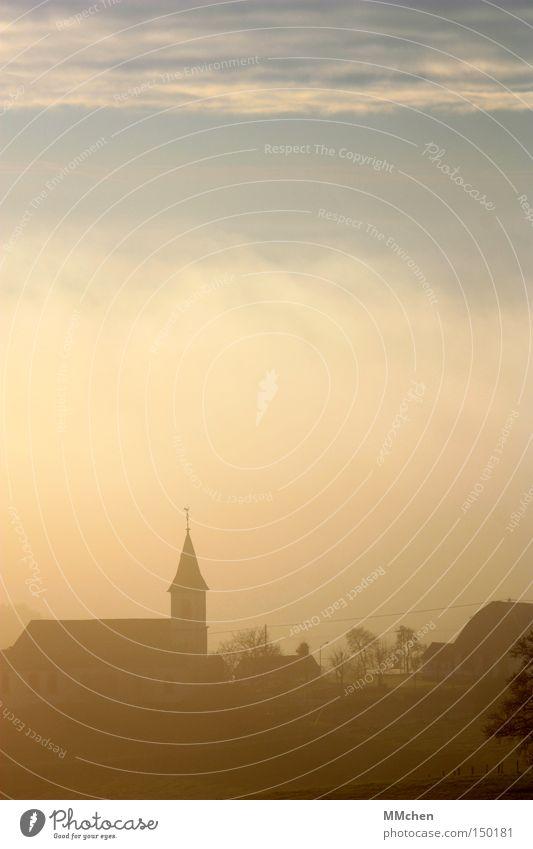 Autumn Silhouette Religion and faith Fog Weather Perspective Church Village Haze Unclear Clang House of worship Church spire Eifel Spire