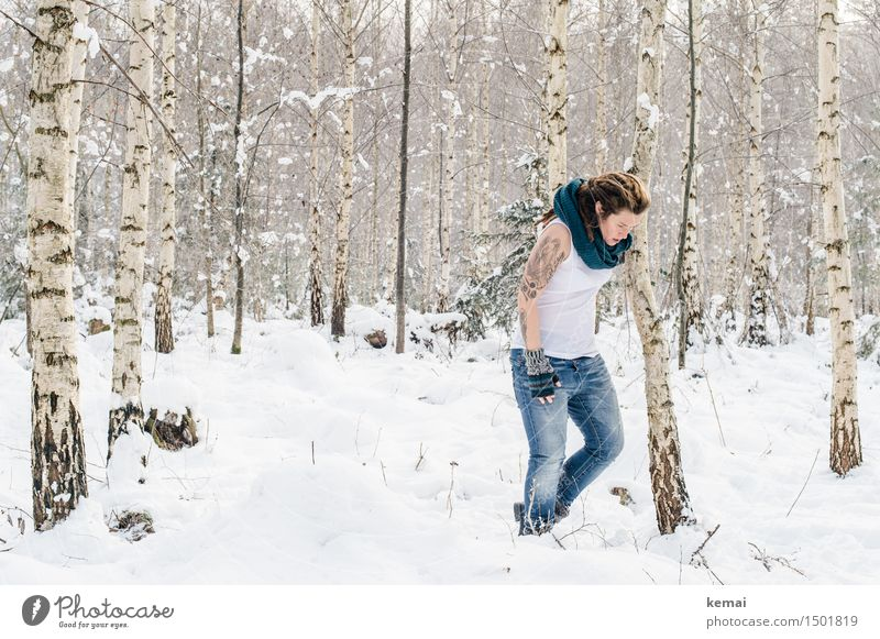 Spending my time with trees (IV) Lifestyle Style Leisure and hobbies Adventure Freedom Winter Snow Human being Feminine Woman Adults Body 1 30 - 45 years Tattoo