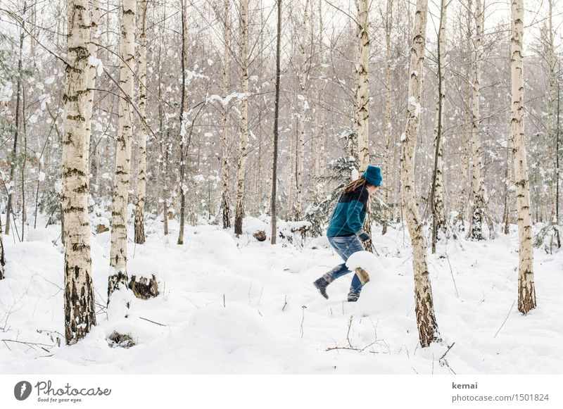 Human being Woman White Tree Joy Winter Forest Cold Adults Life Snow Feminine Style Playing Lifestyle Freedom