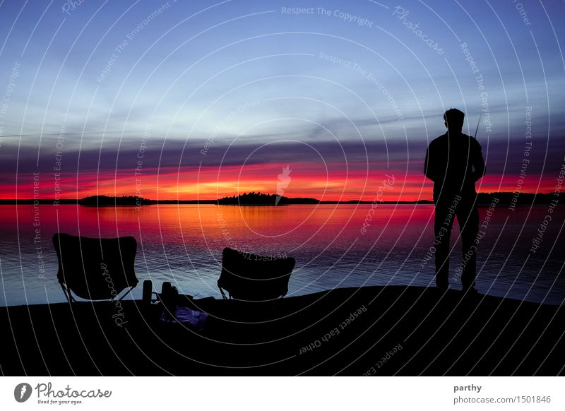 sunset fishing Harmonious Well-being Relaxation Calm Fishing (Angle) Masculine Man Adults 1 Human being Nature Water Sky Clouds Horizon Sunrise Sunset To enjoy