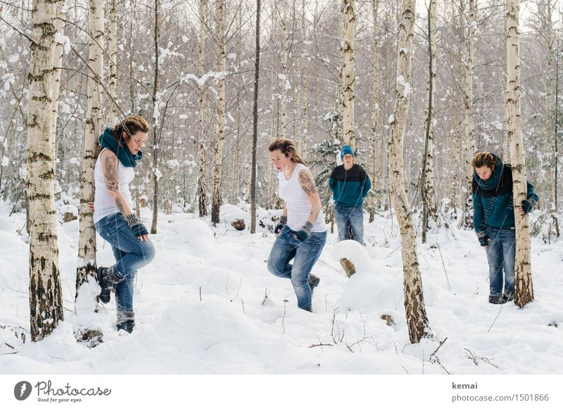 Spending my time with trees (V) Lifestyle Style Leisure and hobbies Playing Adventure Freedom Winter Snow Human being Feminine Woman Adults Body 4 30 - 45 years