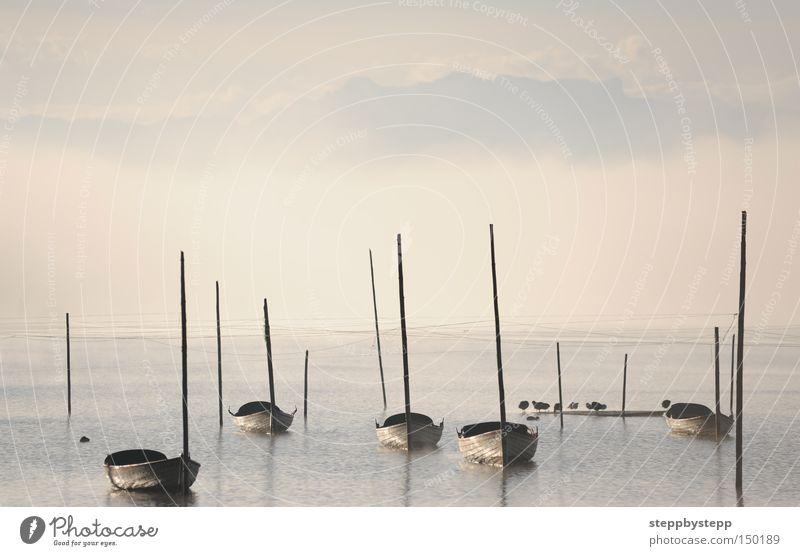 Calm Cold Autumn Lake Watercraft Moody Fog Mysterious Gorgeous Fairytale landscape