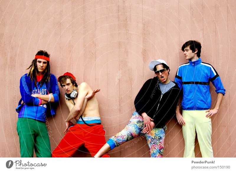 poser Band Music Headphones Pink Wall (building) Retro Man Cap Pants Jacket Summer The eighties Joy Concert Group stylish