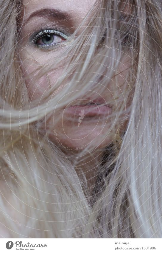 long blond hair covers the female face, only one eye is visible Human being Feminine Young woman Youth (Young adults) Woman Adults Life Eyes 1 18 - 30 years