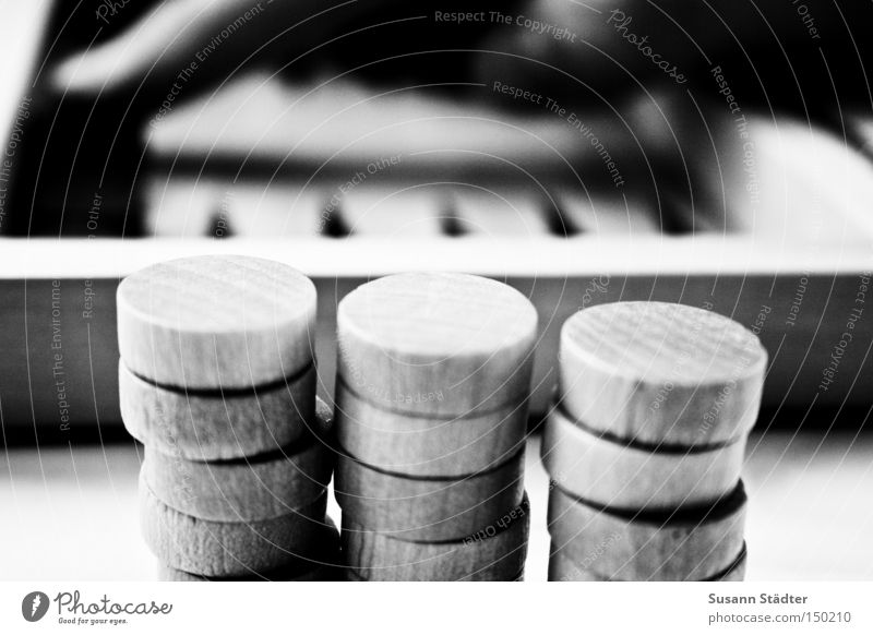 It's your turn! Dice Backgammon Stone Piece Hand Black & white photo Wood Round Prongs Playing Game board Success Loser Summer Boredom game collection