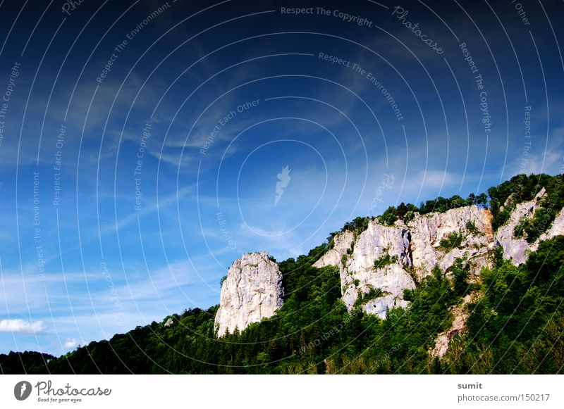 Sky Blue Clouds Forest Mountain Rock Might Midday Upper Danube valley