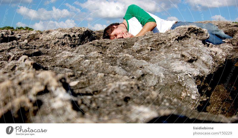 Man Sky Beach Clouds Stone Coast Rock Sleep Break Fatigue Portugal Cliff Exhaustion