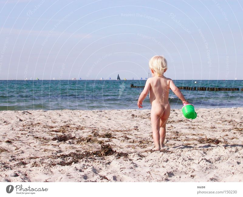 nudie Playing Vacation & Travel Summer Summer vacation Beach Ocean Human being Child Toddler Girl Body 1 1 - 3 years Environment Sand Water Horizon