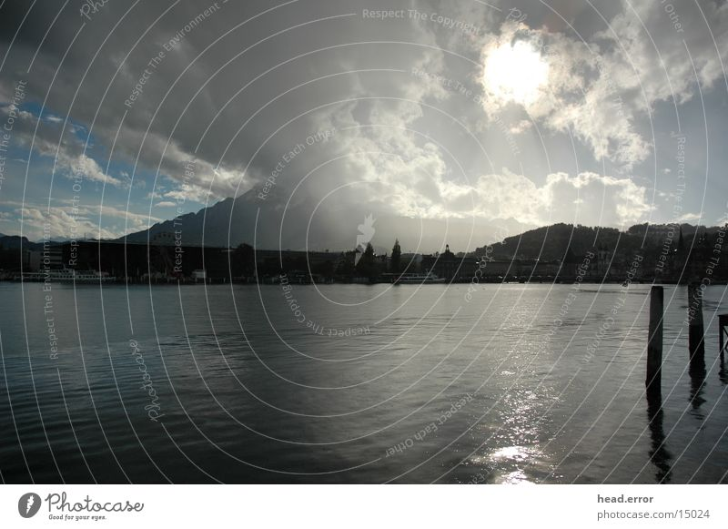 weather games Lucerne Lake Lucerne Drops of water Europe Rain Sun weather upheaval