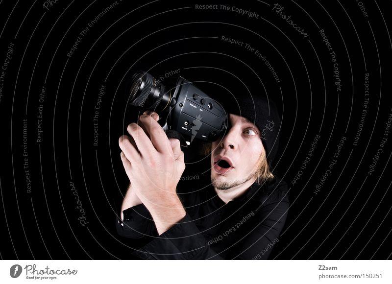 Man Hand Old Black Retro Camera Media To hold on Video camera Amazed Focal point Fisheye