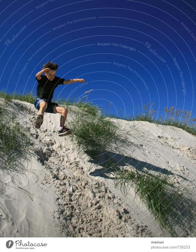 joyful leap Summer Playing Joy Leisure and hobbies Fitness Well-being Happy Healthy Blue Jump Joie de vivre (Vitality) Beach dune Movement Action
