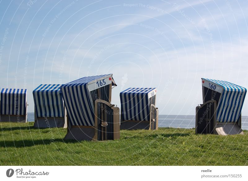 Ocean Beach Vacation & Travel Calm Relaxation Coast Island Beach chair Basket Norderney Blue-white