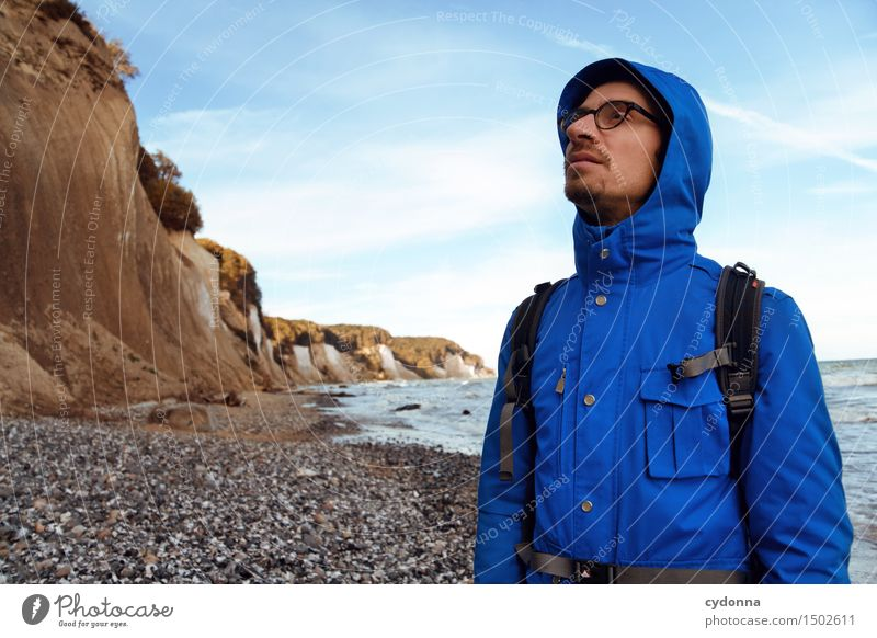 Human being Nature Vacation & Travel Youth (Young adults) Ocean Young man Landscape Calm Beach 18 - 30 years Adults Life Lanes & trails Coast Freedom Hiking