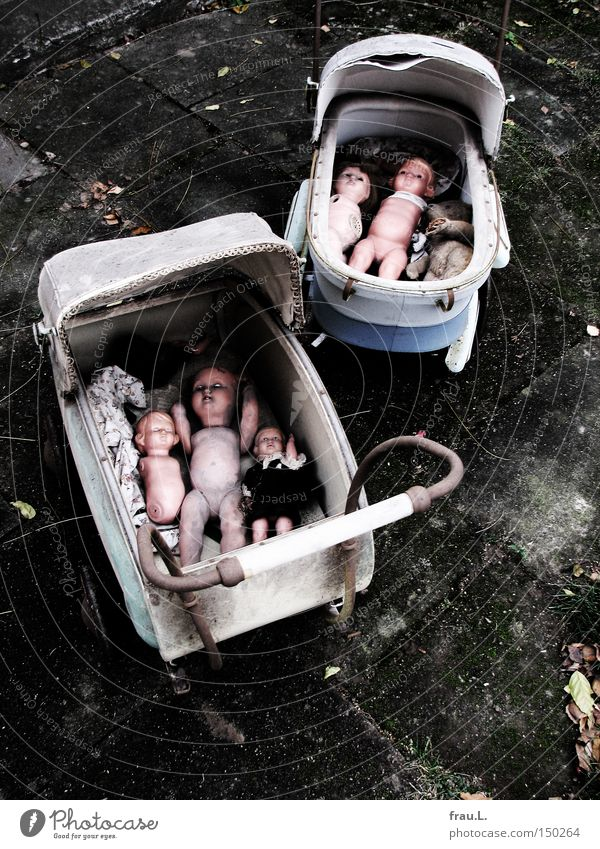 Dolls go out for a walk Teddy bear Old Disregard Broken Destruction Abuse End Grief Distress doll car Infancy