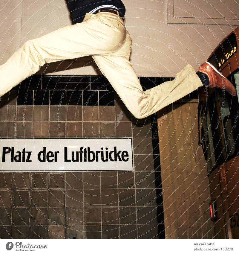 Man Joy Yellow Berlin Jump Flying Places Aviation Railroad Airport Underground Racecourse Track Beige Stop (public transport) Springboard