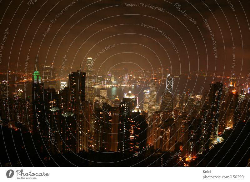 China Fog High-rise City Light Skyline Building Hongkong City light