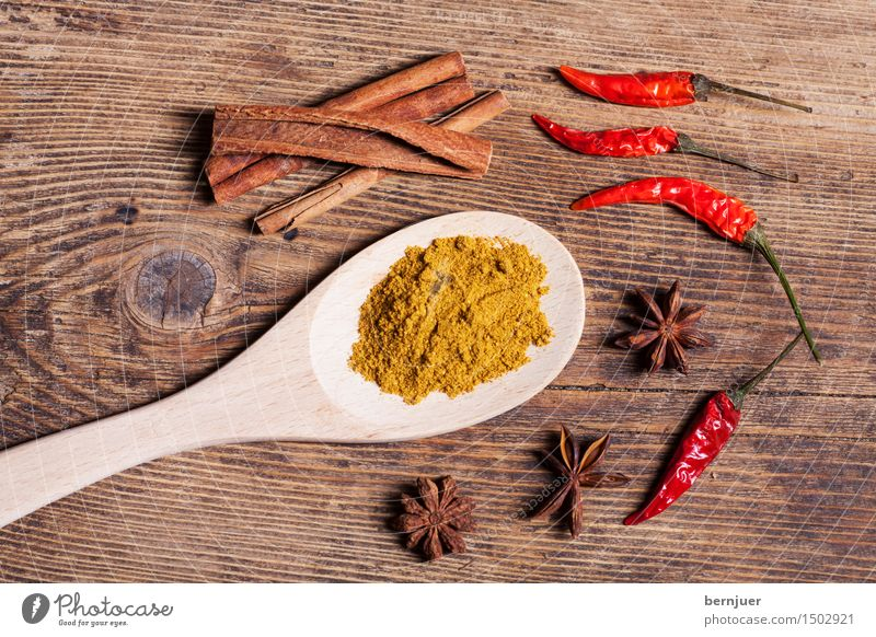 curry Food Herbs and spices Organic produce Vegetarian diet Diet Asian Food Good Curry powder Spoon Wooden spoon Chili Cinnamon Star aniseed Deserted