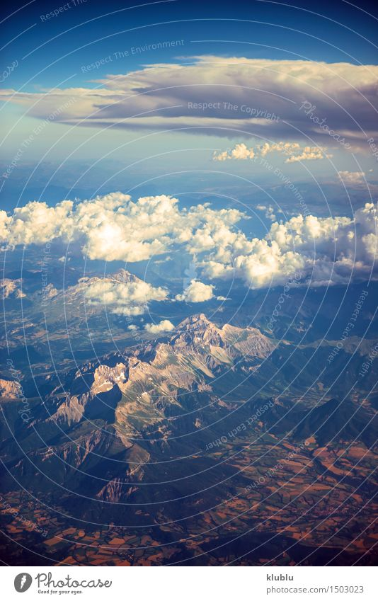 View of the mountains from airplane window during flight Beautiful Vacation & Travel Tourism Snow Mountain Nature Landscape Sky Clouds Horizon Weather Alps