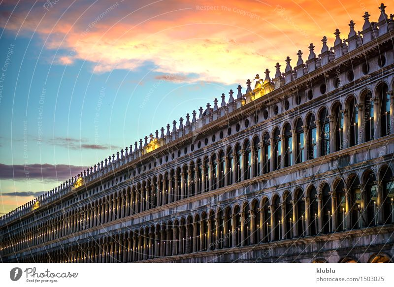 Italy, Venice, dusk at San Marco square Beautiful Vacation & Travel Tourism Ocean House (Residential Structure) Sky Town Church Palace Bridge Building