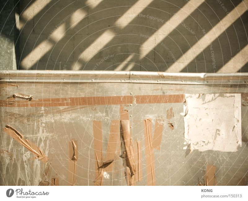 streak Stripe Shadow Concrete Wall (building) Adhesive tape Derelict Weathered Metal Metalware Stick Remainder Poster Obscure decay left