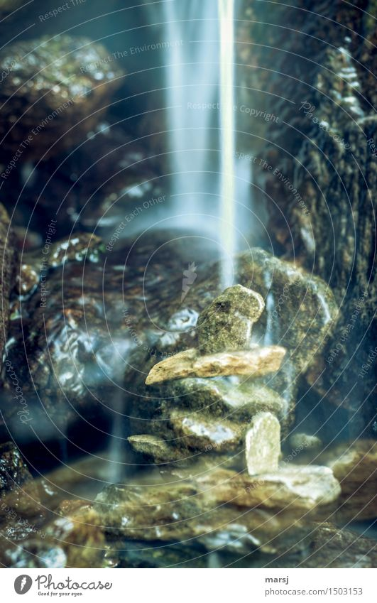 Water Relaxation Calm Life Sadness Exceptional Stone Wet Elements Harmonious Fatigue Double exposure Concern Flow Senses Waterfall