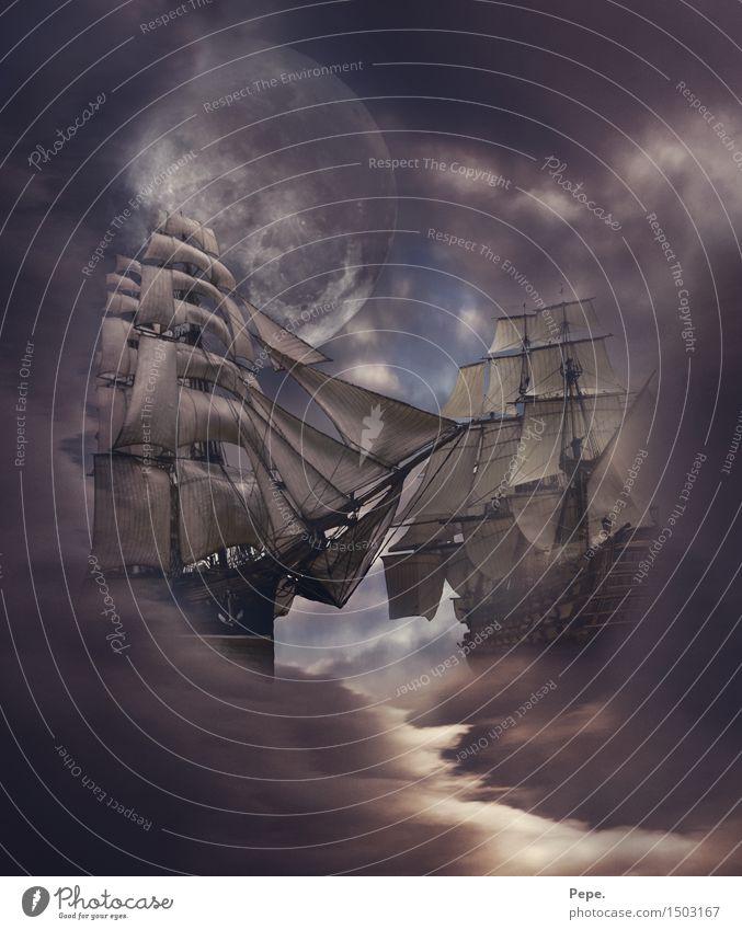 sky battle Sky Moon Ocean Navigation Cruise Boating trip Sailboat Sailing ship Dark Composing Fog Subdued colour Abstract