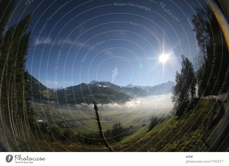 off-season Federal State of Tyrol Zillertal Ground fog Beautiful weather Fisheye Panorama (View) Back-light Calm Vacation & Travel Trip Mountain Peak Pass Alps