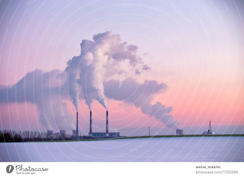 Power plant in the evening Winter Snow Factory Industry Energy industry Landscape Plant Sky Sunrise Sunset Meadow Field Forest Small Town Skyline Building Tube