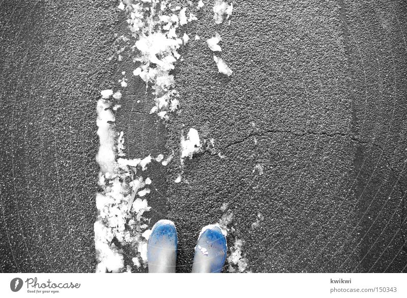 Blue White Winter Street Cold Snow Gray Feet Going Stand Frost Tracks Boots Rubber boots Tread