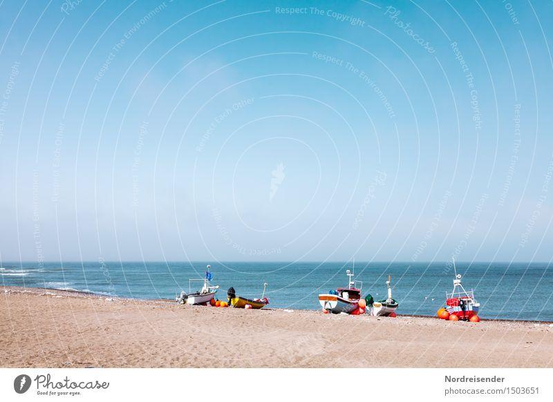 inshore fishermen Vacation & Travel Tourism Summer Sun Beach Ocean Nature Landscape Sand Air Water Cloudless sky Beautiful weather North Sea Navigation