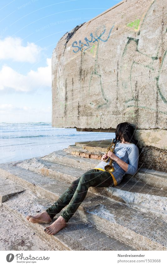Human being Woman Vacation & Travel Ocean Relaxation Loneliness Calm Adults Architecture Sadness Natural Feminine Fashion Dream Sit Beautiful weather