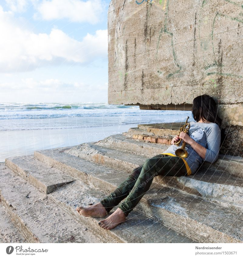 Human being Woman Water Ocean Relaxation Loneliness Calm Beach Adults Wall (building) Architecture Sadness Feminine Coast Wall (barrier) Dream