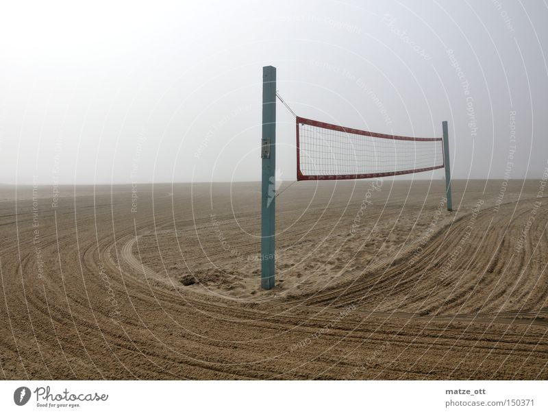 fog on the beach Beach Fog Volleyball (sport) Net Volleyball net Sand Clouds Sports Playing Los Angeles Coast Perspective