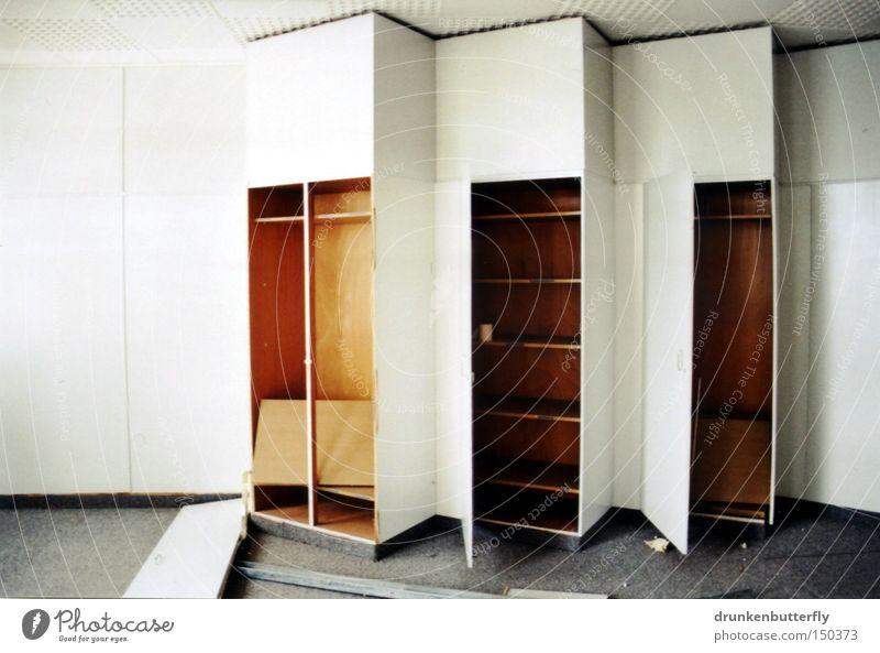 closet Cupboard Wood Shelves Furniture Wall cupboard Carpet White Gray Brown Derelict Door Floor covering Destruction Interior design Loneliness