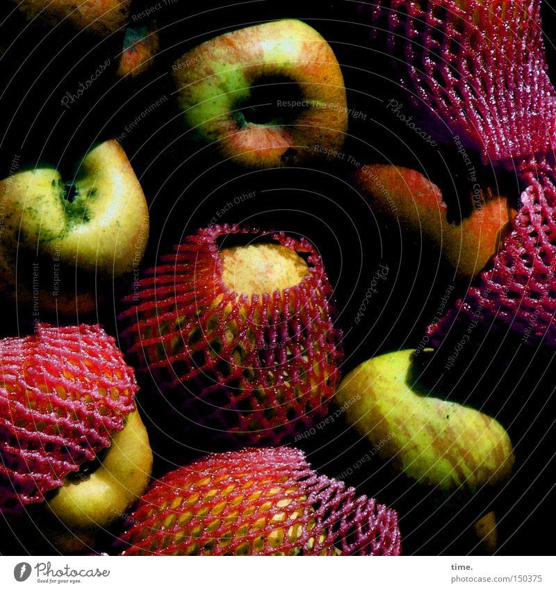 Carnival of apples Fruit Apple Net Packaged Muddled Reddish green Pushing Colour photo Exterior shot Deserted Day Shadow Sunlight Sunbeam Bird's-eye view