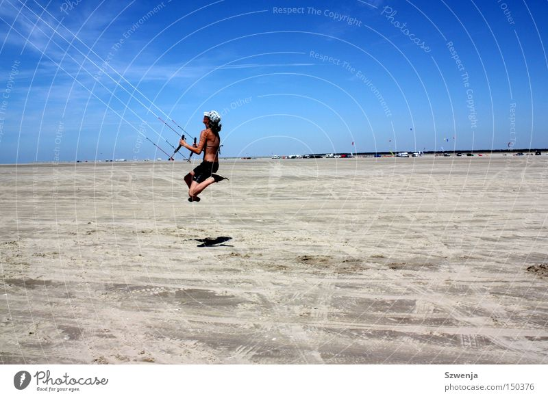 With the wind... Blue Sky Sky blue Beautiful Jump Beach Sand Clouds Summer Denmark Dragon kites rise car stand