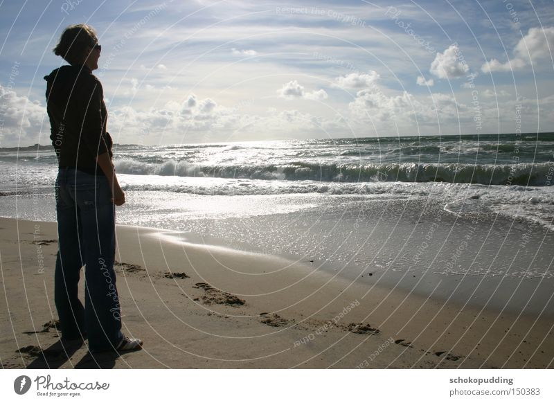 Alone with the waves Ocean Water Dream Sand Waves Sun North Sea Denmark Surf Clouds Think Beach Coast