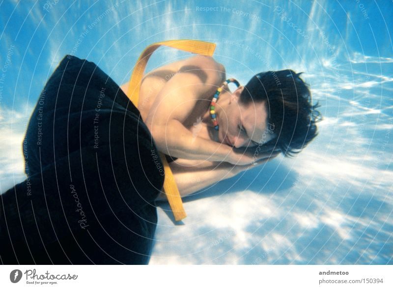 Man Blue Water Relaxation Underwater photo Think Dream Drinking water Sleep Swimming pool Pants Belt