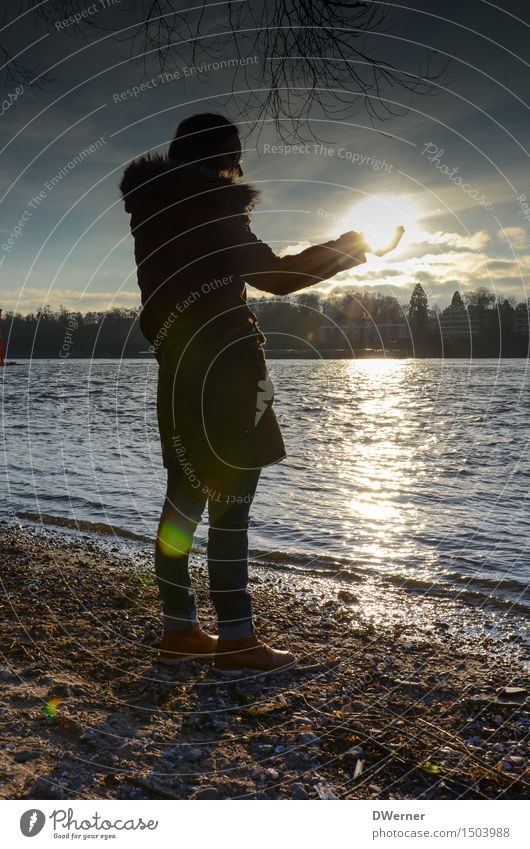 sun child Elegant Style Vacation & Travel Trip Freedom Human being Feminine Young woman Youth (Young adults) Body 1 Environment Landscape Water Sky Sun Sunrise