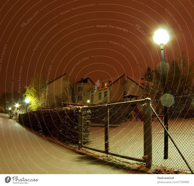 Winter on the doorstep Snow Night Aachen Light Fence Lamp Fisheye Anticipation Cold Lanes & trails Hedge Settlement Student accommodation Long exposure