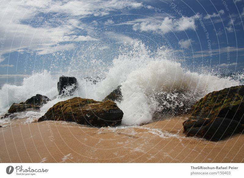 Sky White Ocean Blue Beach Clouds Stone Sand Waves USA Hawaii Sea water