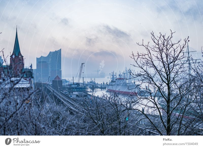 City Blue Winter Cold Moody Fog Ice Hamburg River Frost Manmade structures Harbour Skyline Landmark Downtown Tourist Attraction