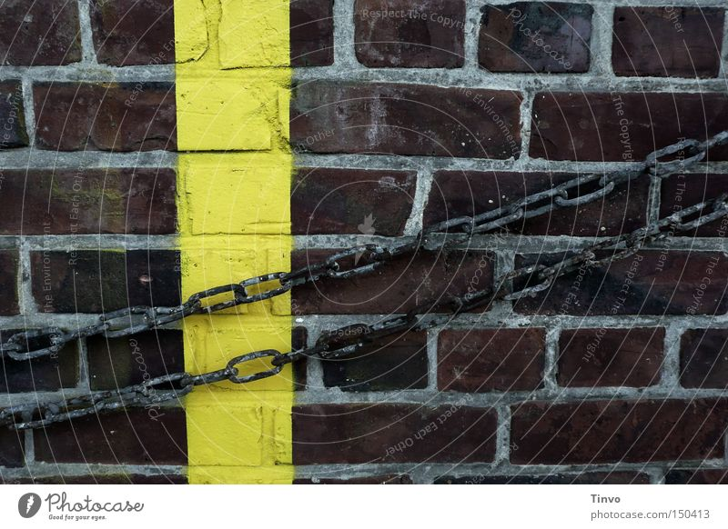 Wall (barrier) Signs and labeling Brick Chain Captured Jail sentence Shackled Warning colour