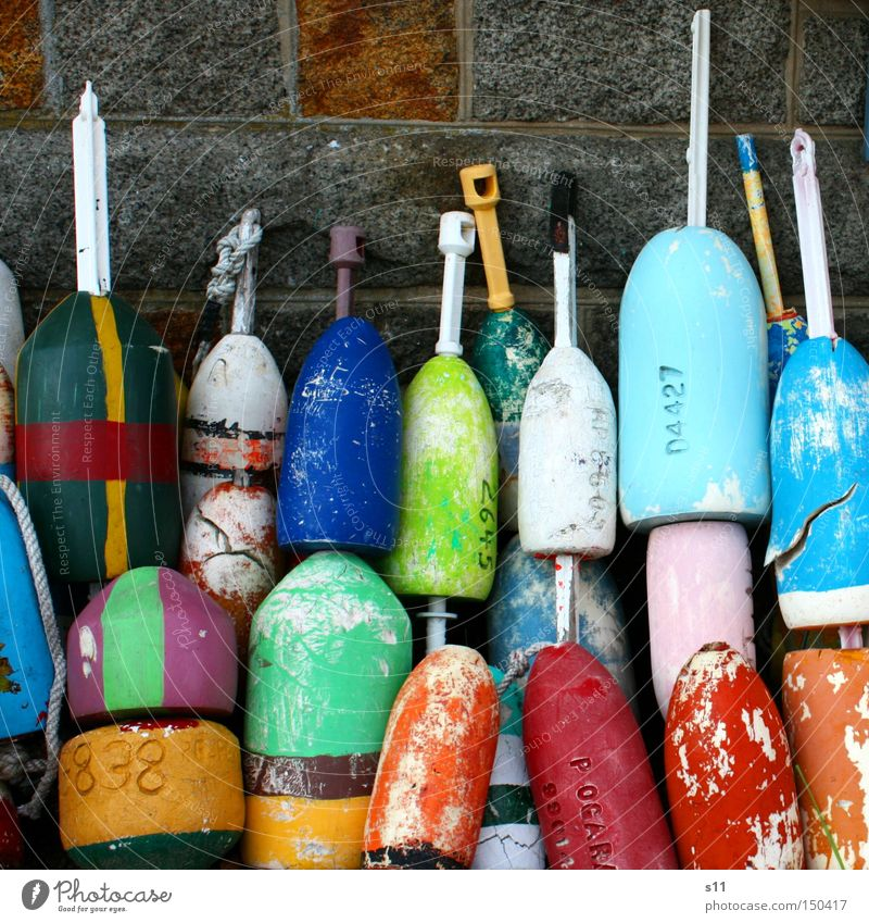 buoys Pontoon Multicoloured Leisure and hobbies Fishing port Watercraft Fisherman Ocean Colour Harbour collector Multiple