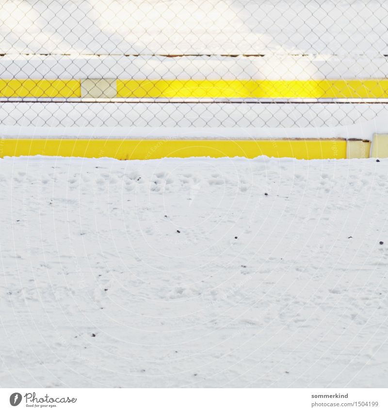 parallels Winter Ice Frost Snow Town Train station Train travel Platform Multicoloured Yellow White Fence Wire netting fence Stripe Pattern Bright Colours