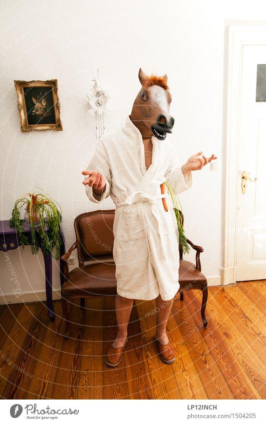 LP. HORSEMAN. XI Living or residing Flat (apartment) Interior design Carnival Hallowe'en Masculine 1 Human being Bathrobe Horse Animal To talk Stand Exceptional