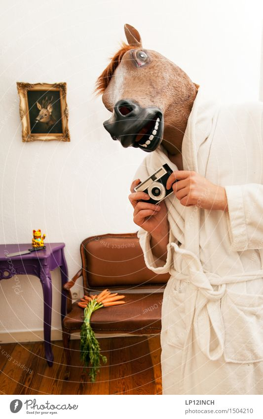 Human being City Animal Adults Funny Party Flat (apartment) Masculine Living or residing Fear Crazy Clothing Retro Horse Camera Mask