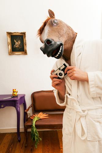 LP. HORSEMAN. SECOND Living or residing Flat (apartment) Hallowe'en Human being Masculine Adults 1 Clothing Bathrobe Animal Horse Creepy Funny Retro Town Crazy