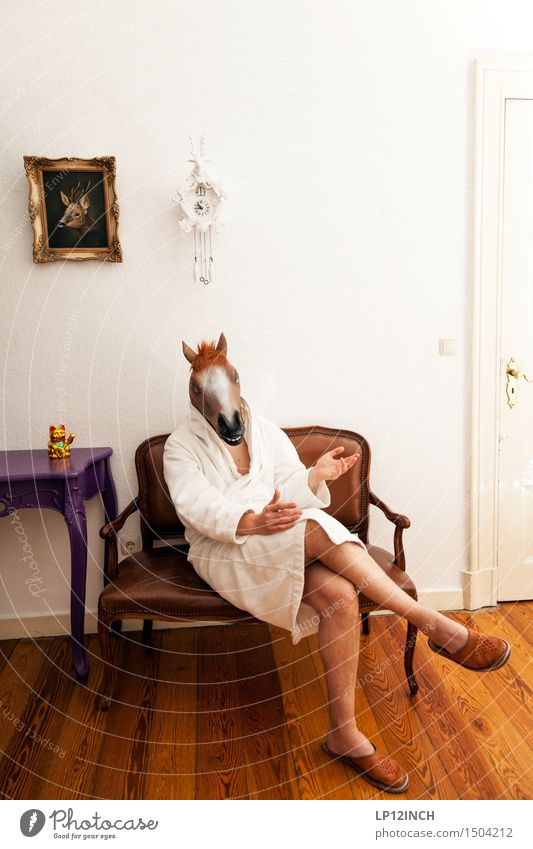 Human being Man Animal Adults To talk Funny Masculine Dream Living or residing Clock Sit Crazy Wait Horse Mask Creepy
